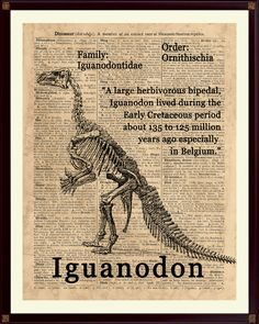 Iguanodon Poster Dinosaur Art Dinosaur Party Decor by DicosLand Dinosaur Nursery, Dinosaur Art, Dinosaur Prints, Dinosaur Posters, Dinosaur Skeleton, Dictionary Art, Prehistoric Animals, T Rex, Natural History