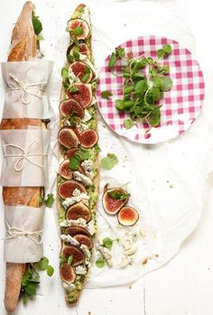 Picnic baguette ~ avocado, gorgonzola, fig  fresh herbs. 1 baguette 4 fresh figs (sliced) fresh watercress 200g gorgonzola cheese (sliced) 45ml Italian parsley (chopped) 1 lemon (juiced) olive oil (to drizzle) 2 ripe avocados (halved and stones removed) salt and freshly ground pepper (to taste). Not sure why this link is suspicious: http://www.2thrive.co.za/light-meals/2015/3/11/gourmet-baguette. Access at your own risk. I had no problem.
