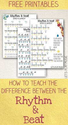 Piano Teaching Teaching Kids the Difference Between the Rhythm and the Beat - A fun and simple musical theory and rhythm game to teach the difference between finding the beat and the rhythm of a song to kids. Piano Teaching, Teaching Kids, Learning Piano, Ukulele, Violin, Banjo, Solfege Piano, Music Lesson Plans, Preschool Music Lessons