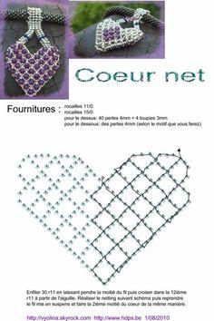 Beautiful beaded heart pendant netting technique schéma 1 coeur net