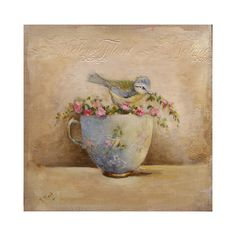 Baby blue-tit, small wild roses garland & sevres tea cup Original oil Painting by Helen Flont
