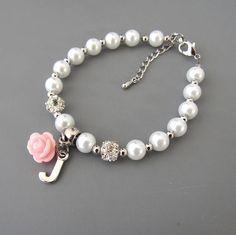 Flower Girl Gift Childrens Personalized Bracelet Flower