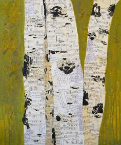mixed-media Birch tree collage made from sheet music and paint. Tree Collage, Collage Art, Newspaper Collage, Nature Collage, Collages, Birch Tree Art, Birch Bark, Torn Paper, Mixed Media Collage