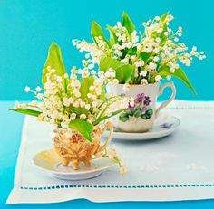 Cute idea for Mother's Day! Give mom flowers in sweet teacups. More Mother's Day ideas: http://www.midwestliving.com/holidays/easy-mother%E2%80%99s-day-decorations/?page=2