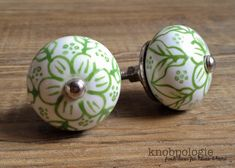 SET OF 2 - Green and White Floral Ceramic Knob - Flower Drawer Pull - Decorative…