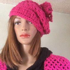 Handmade crochet hat and scarf set, magenta, arch mesh stitch,acrylic,stretchy