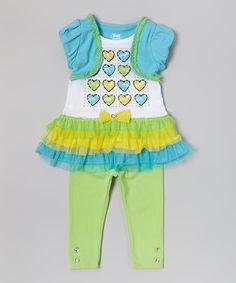 Loving this Blue Heart Skirted Tunic  Leggings - Infant, Toddler  Girls on #zulily! #zulilyfinds