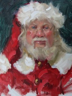Judy Crowe-keep an eye on this artist. Merry Christmas To All, Father Christmas, Christmas Art, Vintage Christmas, Santa Paintings, Christmas Paintings On Canvas, Saint Nicolas, Saint Nick, Fantasy Art Landscapes