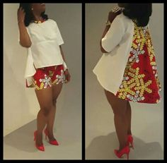 I love this with the shorts.i would not wear heels with mine, I will do sneakers African Print Dresses, African Fashion Dresses, African Attire, African Wear, African Women, African Dress, African Prints, African Style, African Fabric