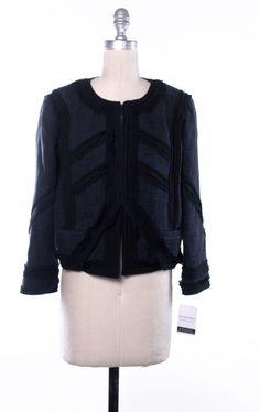 ELIZABETH AND JAMES Navy Blue Tweed Jacket Size 4 #ElizabethandJames #BasicJacket
