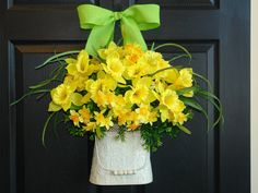 spring wreath Easter wreaths yellow daffodil front by aniamelisa