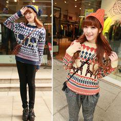 Ladies Thick Knitting Christmas Reindeer Jumper Sweater
