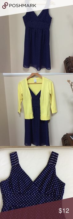 """GAP Blue and white polka dot dress Adorable polka dot dress for summer. Fully lined. Empire waist. Approximately 26"""" from empire wait to bottom hem. Looks so sweet with a bright cardigan! Pet free and smoke free home. GAP Factory outlet Dresses Midi"""