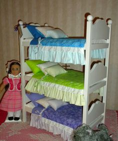 White Triple Bunk Bed for the American Girl Doll by BedsandThreads, $285