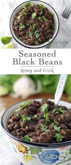 This seasoned black beans recipe is your new favorite side dish! Perfect for Taco Tuesday alongside rice, burritos, and any other Mexican dishes! | honeyandbirch.com