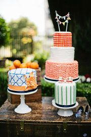 Colorful, preppy summer wedding cakes by Ingela Floral Design in Style Me Pretty // photo by Meg Perotti Photography