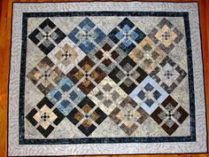 """Robbie's Quilt"" Pattern is Blockbuster from KariePatch done in browns, blues and greys - October 2013"