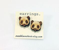 Panda Earrings   Laser Cut Jewelry   Hypoallergenic Studs   Wood Earrings