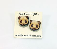 Panda Earrings | Laser Cut Jewelry | Hypoallergenic Studs | Wood Earrings