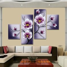 Frame Orchid Wall Painting Flower Canvas Painting Home Decoration Pictur - bdarop Wall Painting Frames, Wall Painting Flowers, Hand Painting Art, Fabric Painting, Oil Painting On Canvas, Art Paintings, Abstract Wall Art, Canvas Wall Art, Tableau Design