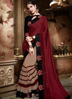 Buy Superlative Georgette Designer Half N Half saree #sarees #royal #designersarees #ethnic #glamour