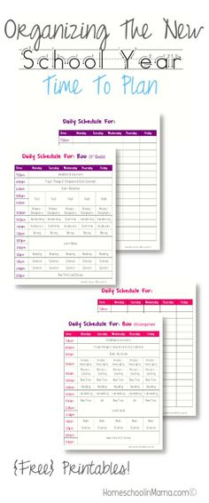 Organizing The New School Year - Time to Plan with {free} printables! #HSMama #homeschool #Organization
