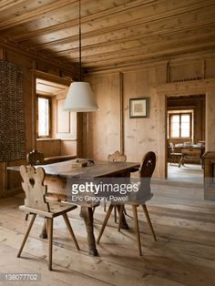 Stock Photo : Swiss Engadine house dining room