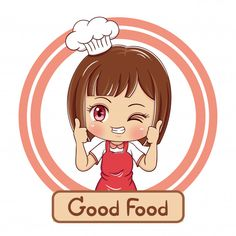 Cartoon Chef, Cartoon Logo, Girl Cartoon, Cartoon Art, Cake Logo Design, Food Logo Design, Turkey Cartoon, Chef Logo, Ribbon Logo
