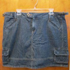 Sonoma Womens Skort Denim Jean Size 16 Cargo Skirt Over Shorts Above Knee Length #Sonoma #Skorts
