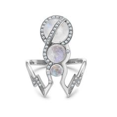 Theiya Lumia ring in 18-carat white gold, diamonds and moonstone, £2,200