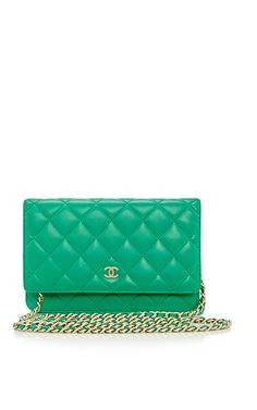 Chanel Green Lambskin Quilted Wallet-on-Chain by What Goes Around Comes Around for Preorder on Moda Operandi