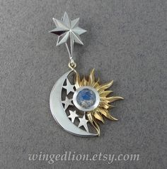 ECLIPSE - SUN and MOON 14k gold and silver pendant with Moonstone by WingedLion on Etsy https://www.etsy.com/listing/252534797/eclipse-sun-and-moon-14k-gold-and-silver