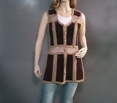 Vintage Vest 70s Suede Patchwork Chocolate Brown Knit Hippie