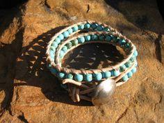 Sky Blue Turquoise Leather Wrap by fleurdesignz on Etsy, $32.00