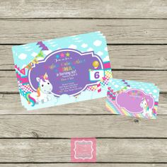Unicorn Birthday Party Invitations with Free Thank You Cards Printable DIY by PartyPoshPrintables #Unicorn #Birthday #Rainbows