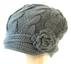 Super soft and cute Hand knitted Cab Driver Newsboy hat with 1 inch short soft visor with side flower embellishment