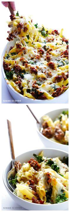 5-Ingredient Italian Sausage and Kale Baked Ziti #5ingredient #kale #pasta