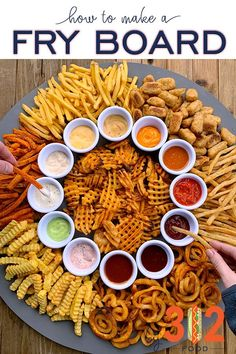 Super easy french fry board recipe!! Click for details on how to make a french fry board at home. I used 7 types of fries and 12 sauces. Enjoy!
