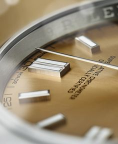 The white grape dial of the Rolex Oyster Perpetual 36, with double hour markers at 12, 3, 6 and 9 o'clock.