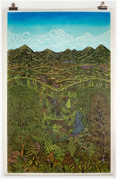 """OVERLOOK"" Woodcut Print by Tugboat Printshop.  Made from hand carved wood blocks that took 3 years to make."