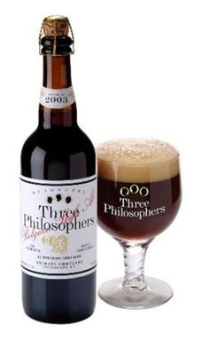 OMMEGANG THREE PHILOSOPHERS (2011) - Three Philosophers is a unique blend of a Belgian-style strong dark ale and Liefmans Kriek, an authentic cherry ale from Belgium. Cherry chestnut in color, it's opaque but not cloudy with full carbonation topped by a smooth, tan head. Quite sweet & malty, almost chocolatey, with a nice cherry finish. Similar (except for the added cherry ale) to Gulden Draak. ABV: 9.7%  Grade-B