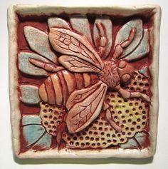 Bee on flower art tile  aqua by gianar on Etsy, $22.00