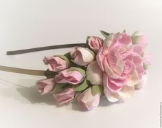 Купить Ободок обруч с цветами из полимерной глины нежно-розовый - бледно-розовый, диадема с цветами