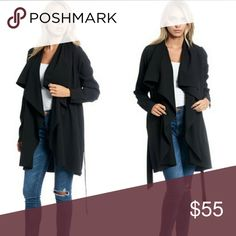 SALE!!** Black Trench Coat W/ Waist Tie Comfy and perfect for all outfits. Wear over a hot dress or a crop top with jeans. Style it any way you'd like. Polyester blend. One of my favs! <3 Boutique Brand.  Bundle with other listings to get discount and save on shipping! Boutique Jackets & Coats