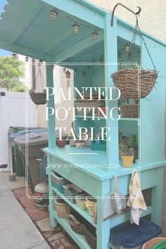 turn an old work bench, some fence boards and scrap lumber, and a coat of She Shades chalk-based paint into a gorgeous potting table Fence Boards, Painted Pots, Diy Painting, Shed, Scrap, Bench, Exterior, Outdoor Decor, Table