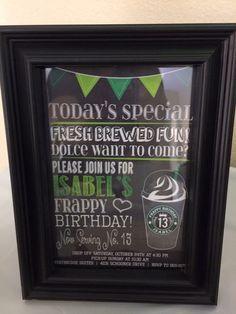 Starbucks Birthday Party, Birthday Invitations, Rsvp, Brewing, Fun, Anniversary Party Invitations, Hilarious