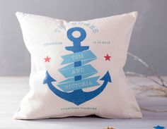Add some nautical style to your sofa with this fabulous personalised nautical couples cushion.
