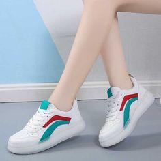 Women's #white green casual shoe #sneaker stripe design Color Stripes, Stripes Design, Striped Shoes, Green Shoes, Shoe Shop, Laos, Green Colors, Casual Shoes, Running Shoes