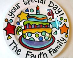 Small or Large handmade ceramic Celebrate happy birthday star Party plate personalized name cupcake Birthday Plate, Birthday Star, Birthday Ideas, Happy Birthday, Party Plates, Cake Plates, Painted Ceramic Plates, Family Cake, Pottery Painting Designs