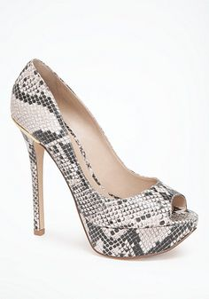 I have some similar to these and love them bebe Pat Python & Metal Pumps